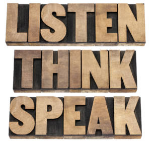 SalesSkillsEveryoneNeedslisten think speak written with wooden letters 300x286 - Sales Skills Everyone Needs Even If You Aren't In Sales